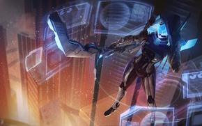 Картинка девушка, свет, ночь, город, фантастика, небоскреб, маска, лук, cyberpunk, League of Legends, ashe, визор, frost …