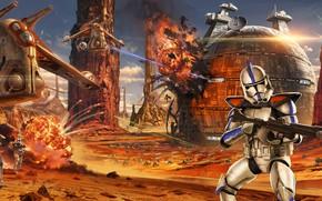 Картинка Star Wars, арт, солдаты, битва, сражение, Звёздные войны, клоны, Jude Smith, Battle of Geonosis, Clone …