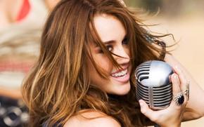 Обои Музыка, микрофон, Miley Cyrus, Майли Сайрус, Поп