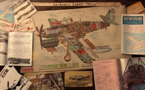 Картинка самолёт, чертежи, журналы, Kawasaki Ki-61 Hien