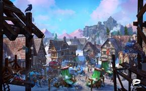 Картинка Дома, Горы, Ворон, Снег, Стена, Топор, Крепость, Поселок, Норды, Рынок, Plarium, nords, heroes of the …
