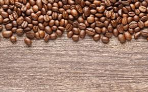 Картинка фон, кофе, зерна, wood, texture, background, beans, coffee, roasted