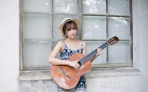 Обои гитара, девушка, музыка