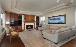 Картинка диван, картина, камин, гостиная
