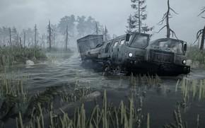 Картинка вода, потоп, Spintires, MudRunner, МАЗ-7310
