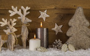 Картинка украшения, елка, свечи, Новый Год, Рождество, олени, happy, Christmas, vintage, wood, tree, New Year, Merry …