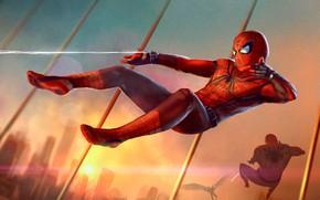 Картинка фантастика, рисунок, паутина, арт, костюм, Marvel, комикс, Spider-Man, Peter Parker, Spiderman, Spider-Man: Homecoming, Человек-паук: Возвращение …