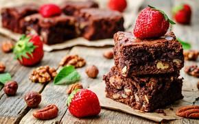 Картинка шоколад, клубника, пирожное, орехи, сладкое, chocolate, dessert, strawberries, nutty