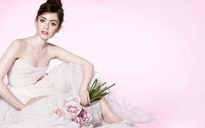 Картинка взгляд, цветы, модель, платье, актриса, Лили Коллинз, Lily Collins