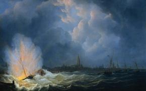 Картинка масло, картина, холст, баталия, Мартинус Шуман, Взрыв Канонерской Лодки у Антверпена