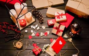 Картинка праздник, свечи, подарки, сердечки, love, день влюбленных, holiday, candles, gifts