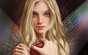 Обои взгляд, фея, рука, лицо, art, яблоко, Vincent Chu, крылышки, длинные волосы