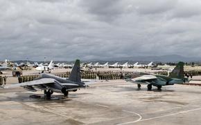Обои самолёты, вертолёты, Ми-8АМТШ, Сирия, Су-24М, ВКС России, Су-25СМ