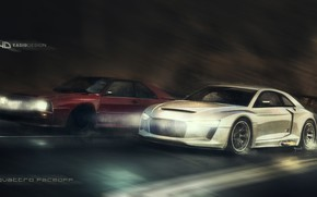 Картинка Concept, Audi, Авто, Рисунок, Машина, Скорость, Car, Автомобиль, Арт, Art, Quattro, Рендеринг, Yasid Design, Audi …