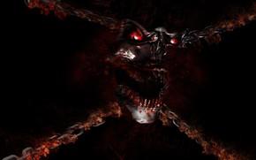 Картинка demon, skull, monster, devil, fang, evil, chain, oni, bakemono
