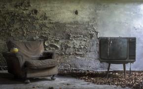 Картинка комната, кресло, телевизор