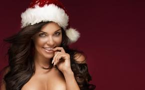 Картинка Christmas cap, New Year's Eve, brunette, Christmas