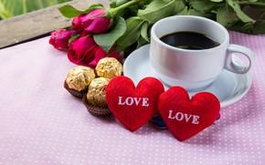 Картинка цветы, праздник, кофе, розы, сердечки, день влюбленных
