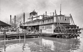 Картинка ретро, корабль, причал, пароход, США
