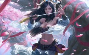 Картинка девушка, лепестки, кинжал, Sting, Chin Likhui
