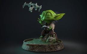 """Обои дрон, """" The Force """", йода, фантастика, Marcos Moraes, Yoda, арт"""