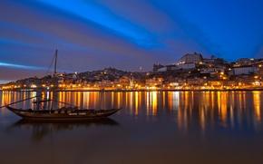 Картинка море, пейзаж, ночь, огни, лодка, дома, Португалия, Порто