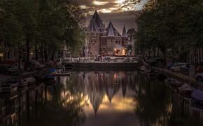 Картинка деревья, отражение, башня, дома, Амстердам, канал, Нидерланды