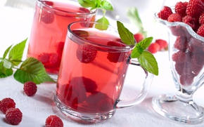 Картинка ягоды, малина, кружка, напиток, компот