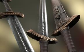 Картинка оружие, сталь, мечи, руны, Viking Sword and Scabbard