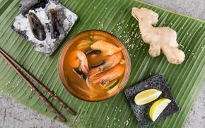 Картинка лимон, креветки, морепродукты, имбирь, Суп