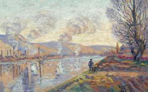 Картинка пейзаж, река, дым, картина, импрессионизм, Арман Гийомен, Сена в Руане, Armand Guillaumin