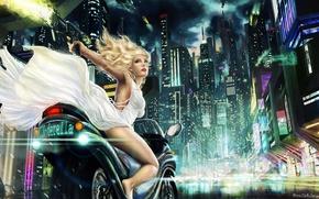 Картинка девушка, ночь, город, огни, арт, байк, Anne Marte Markussen