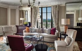 Обои стиль, гостиная, интерьер, комната