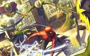 Картинка комикс, Marvel Comics, Человек Паук, Злодеи, Sinister six, Алекс Росс