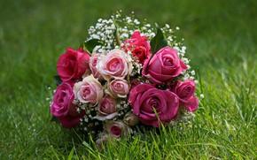 Картинка трава, розы, букет, свадебный букет