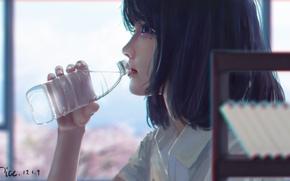 Картинка вода, бутылка, арт, девуша, by xichechen