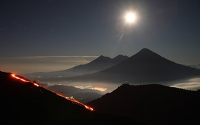 Картинка Japan, Fuji, огни ночного города, туман в горах