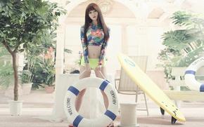 Картинка лето, лицо, модель, ножки, азиатка, круг спасательный