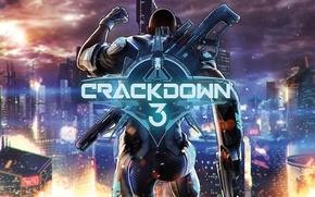 Картинка city, gun, game, weapon, man, suit, Crackdown 3
