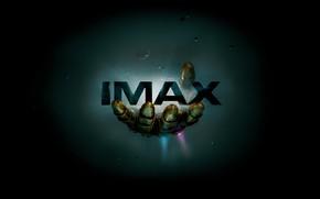 Обои надпись, космос, фантастика, Мстители: Война бесконечности, MARVEL, IMAX, комикс, рука, фон, астероиды, Avengers: Infinity War, ...