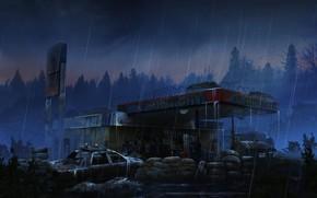 Картинка лес, дождь, станция, автомобиль, Gaz station