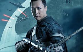 Обои космос, оружие, фантастика, планета, лазеры, постер, космические корабли, Donnie Yen, Rogue One, Донни Йен, Изгой-один: ...