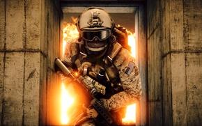 Картинка gun, game, soldier, weapon, Battlefield, M4A1, rifle, uniform, seifuku, Battlefield 4, Battlefield IV