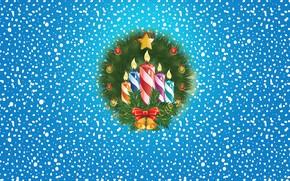 Картинка Зима, Минимализм, Свечи, Снег, Фон, Новый год, Праздник, Настроение, Венок