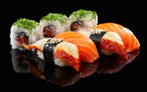 Картинка рис, суши, роллы, лосось