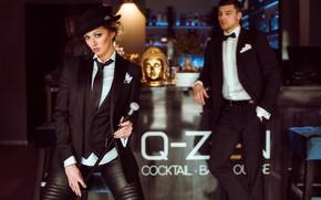 Обои Artur Werschinin, модели, трость, смокинг, Olya Alessandra, стиль, поза
