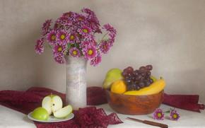 Картинка яблоко, букет, виноград, фрукты, банан, хризантемы