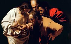 Обои картина, Микеланджело Меризи да Караваджо, Неверие Святого Фомы, мифология