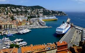 Картинка море, Франция, корабль, порт, лайнер, Ница