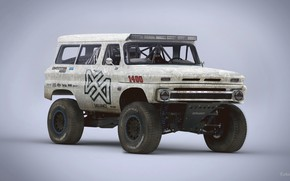 Обои 1965 Chevrolet Suburban, Red White and Blue, trophy rat clean